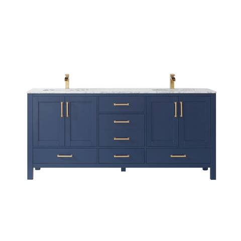 "Shannon 72"" Double Vanity in Royal Blue with Artificial Fine white stone countertop Without Mirror"