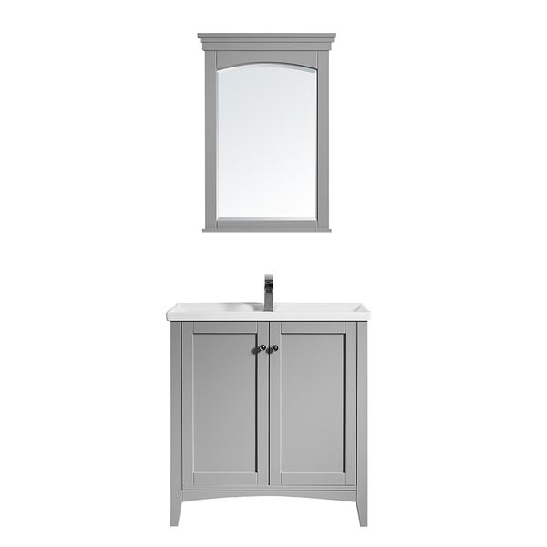 """Asti 30"""" Vanity in Grey with White Ceramic Countertop With Mirror"""