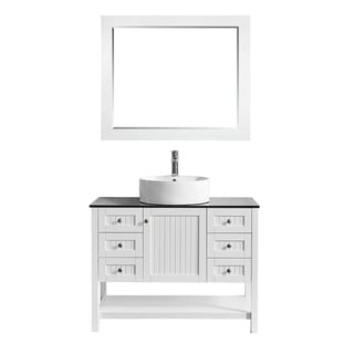 "Modena 42"" Vanity in White with Glass Countertop with White Vessel Sink With Mirror"