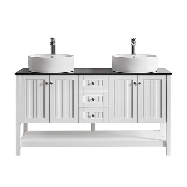 """Modena 60"""" Double Vanity in White with Glass Countertop with White Vessel Sink Without Mirror"""