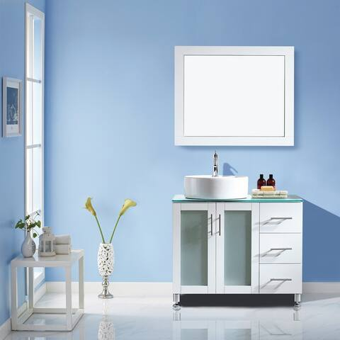 "Tuscany 36"" Vanity in White with Glass Countertop with White Vessel Sink With Mirror"