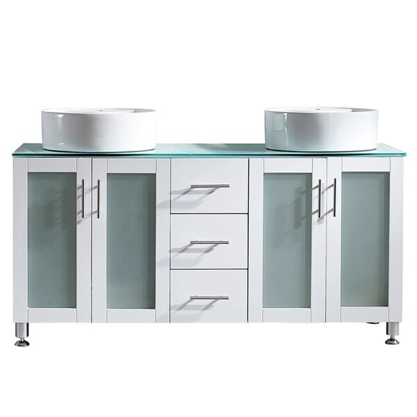 Tuscany 60-inch White Vanity with Glass Countertop and Vessel Sinks. Opens flyout.