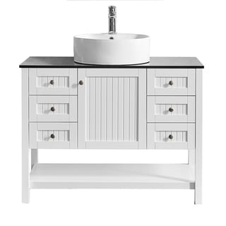 """Modena 42"""" Vanity in White with Glass Countertop with White Vessel Sink Without Mirror"""