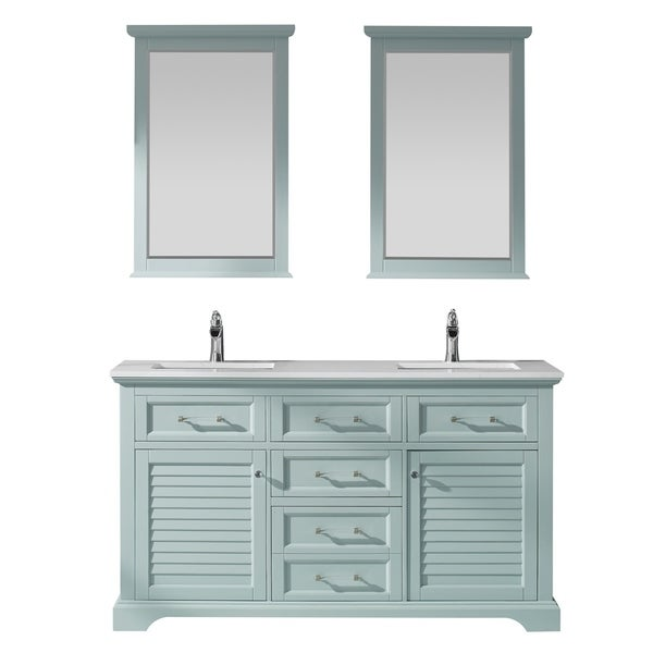 """Lorna 60"""" Double Vanity in Finnish Green with Artificial Fine white stone countertop With Mirror"""