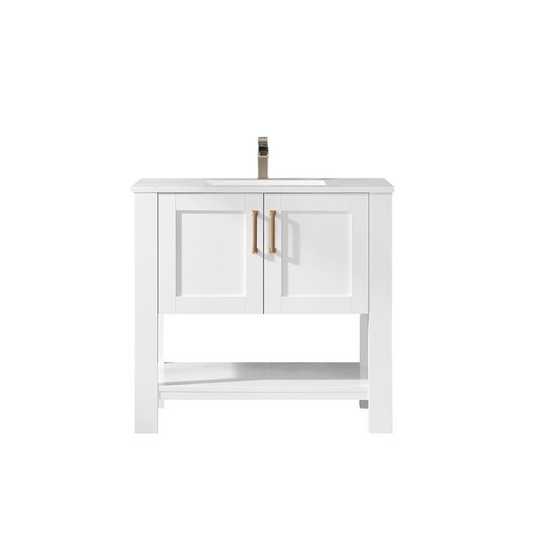"Grayson 36"" Single Vanity in White with Artificial Fine white stone countertop Without Mirror"