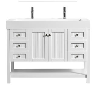 "Pavia 48"" Single Vanity in White with Acrylic under-mount Sink Without Mirror"