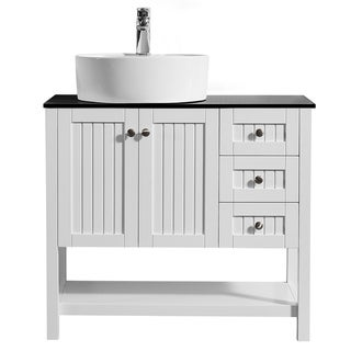 "Modena 36"" Vanity in White with Glass Countertop with White Vessel Sink Without Mirror"