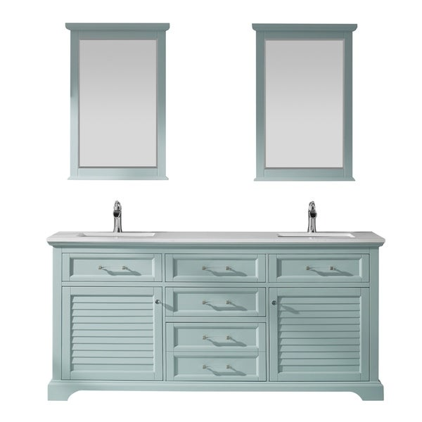 """Lorna 72"""" Double Vanity in Finnish Green with Artificial Fine white stone countertop With Mirror"""