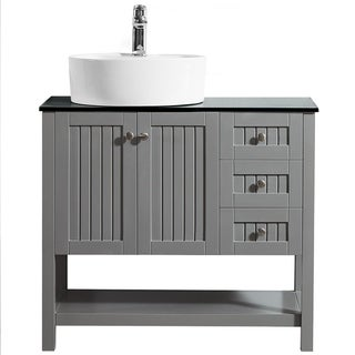 """Modena 36"""" Vanity in Grey with Glass Countertop with White Vessel Sink Without Mirror"""