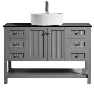 """Modena 48"""" Vanity in Grey with Glass Countertop with White Vessel Sink Without Mirror"""