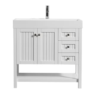 "Pavia 36"" Single Vanity in White with Acrylic under-mount Sink Without Mirror"