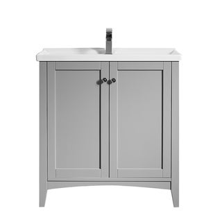 """Asti 30"""" Vanity in Grey with White Ceramic Countertop Without Mirror"""
