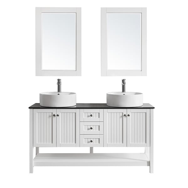 "Modena 60"" Double Vanity in White with Glass Countertop with White Vessel Sink With Mirror"