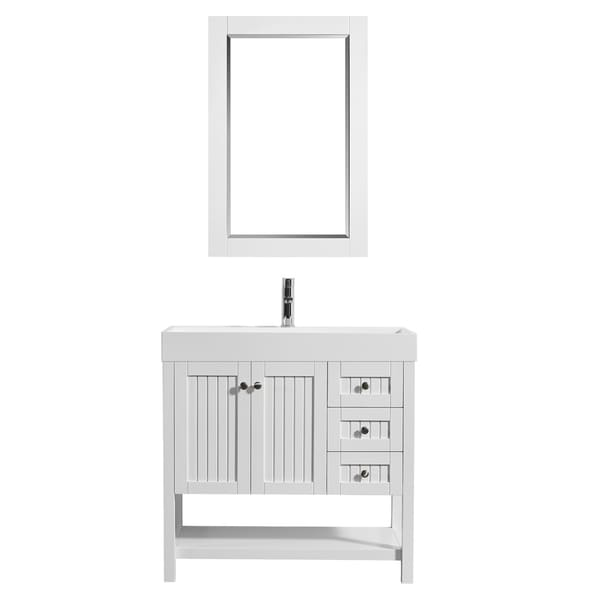 "Pavia 36"" Single Vanity in White with Acrylic under-mount Sink With Mirror"