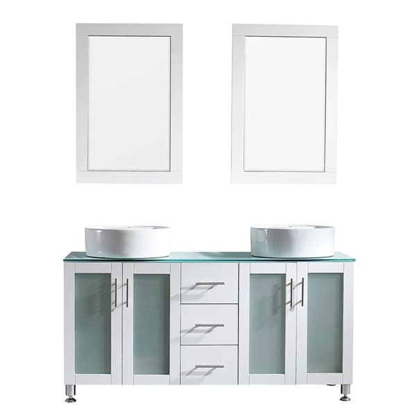 "Tuscany 60"" Vanity in White with Glass Countertop with White Vessel Sink With Mirror"