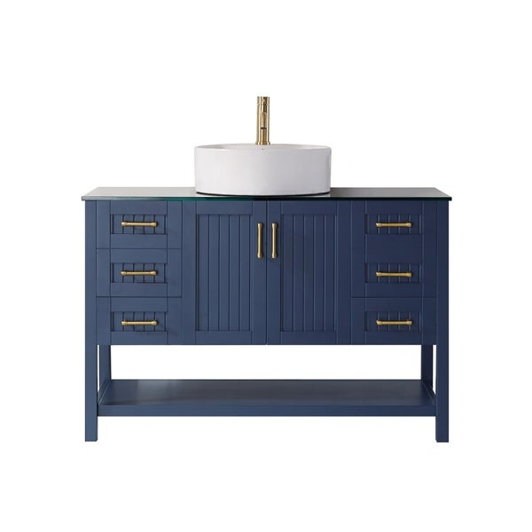 """Modena 48"""" Vanity in Royal Blue with Glass Countertop with White Vessel Sink Without Mirror"""