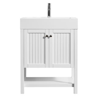 "Pavia 28"" Single Vanity in White with Acrylic under-mount Sink Without Mirror"