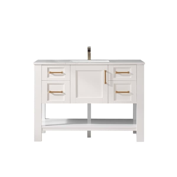 """Grayson 48"""" Single Vanity in White with Artificial Fine white stone countertop Without Mirror"""