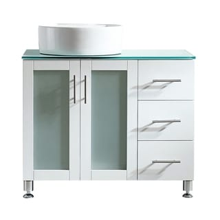 "Tuscany 36"" Vanity in White with Glass Countertop with White Vessel Sink Without Mirror"