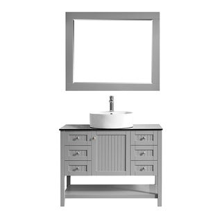 """Modena 42"""" Vanity in Grey with Glass Countertop with White Vessel Sink With Mirror"""