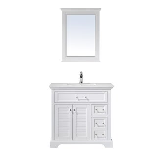 """Lorna 36"""" Single Vanity in White with Artificial Fine white stone countertop With Mirror"""