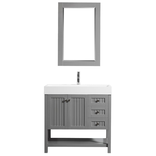 """Pavia 36"""" Single Vanity in Grey with Acrylic under-mount Sink With Mirror"""