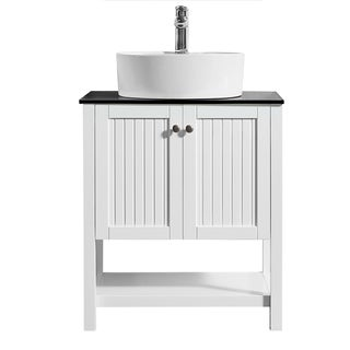 """Modena 28"""" Vanity in White with Glass Countertop with White Vessel Sink Without Mirror"""