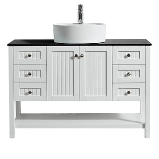 """Modena 48"""" Vanity in White with Glass Countertop with White Vessel Sink Without Mirror"""