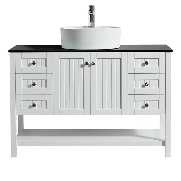 "Modena 48"" Vanity in White with Glass Countertop with White Vessel Sink Without Mirror"