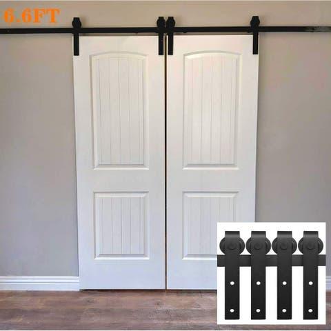 Ainfox 6.6FT Double Door Sliding Barn Door Hardware Track Kit