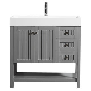 "Pavia 36"" Vanity in Grey with Acrylic under-mount Sink Without Mirror"