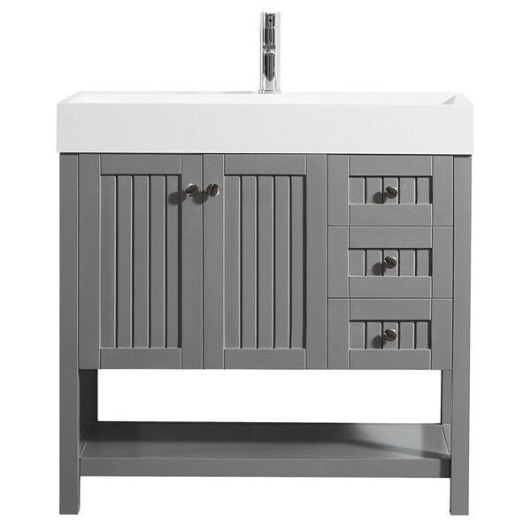 """Pavia 36"""" Vanity in Grey with Acrylic under-mount Sink Without Mirror"""