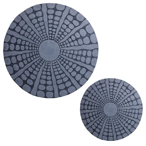 Round Sandstone Wall Decor with Stardust Pebble, Large, Gray