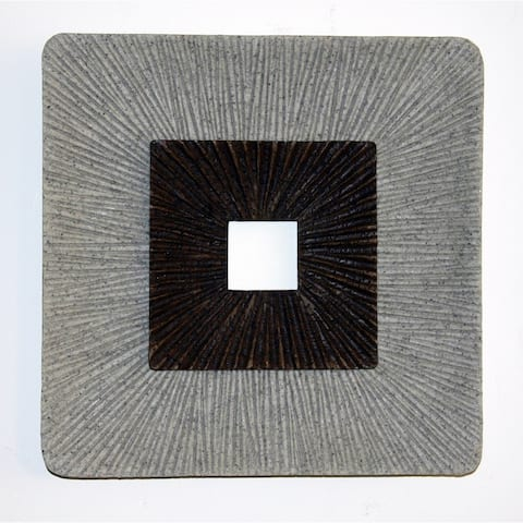 Square Shaped Wall Decor with Ribbed Details, Large, Brown and Gray - 6 x 12