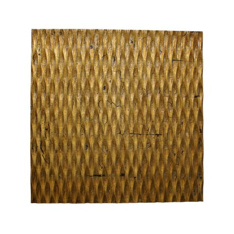 Modern Style Wooden Wall Decor with Patterned Carving, Large, Gold - 6 x 12