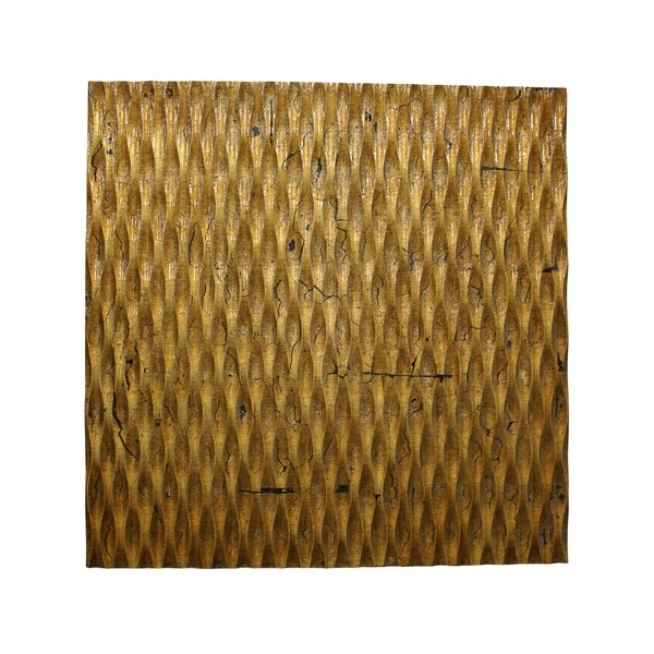 Modern Style Wooden Wall Decor with Patterned Carving, Large, Gold - 6 x 12. Opens flyout.