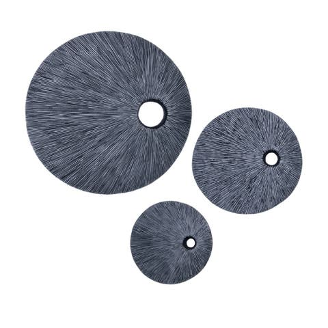 Ribbed Round Sandstone Wall Decor with Cut Out Near the Edge, Medium, Gray - 6 x 12