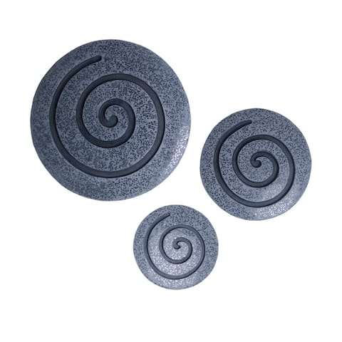 Round Sandstone and Glass Wall Decor with Spiral Design, Small, Gray