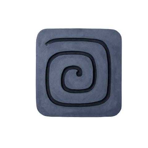 Sandstone Wall Decor with Square Spiral Design, Gray and Black - 6 x 12