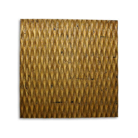 Modern Style Wooden Wall Decor with Patterned Carving, Small, Gold - 6 x 12