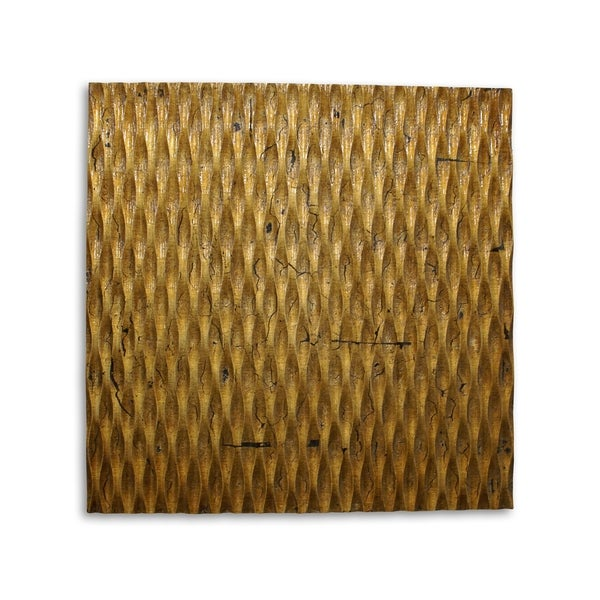 Modern Style Wooden Wall Decor with Patterned Carving, Small, Gold - 6 x 12. Opens flyout.