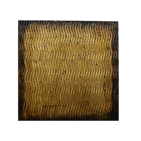 Modern Style Wood Wall Decor with Patterned Carving, Large, Gold & Brown - 6 x 12
