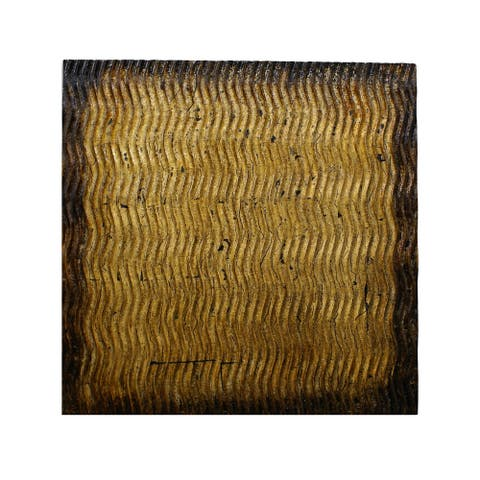 Modern Style Wood Wall Decor with Patterned Carving, Small, Gold & Brown - 6 x 12