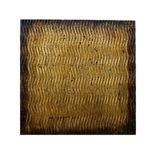 Link to Modern Style Wood Wall Decor with Patterned Carving, Small, Gold & Brown - 6 x 12 Similar Items in Wall Sculptures