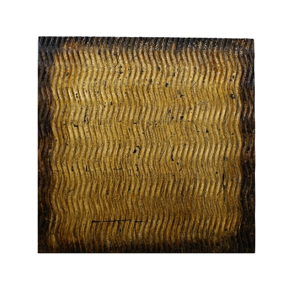 Modern Style Wood Wall Decor with Patterned Carving, Small, Gold & Brown - 6 x 12. Opens flyout.