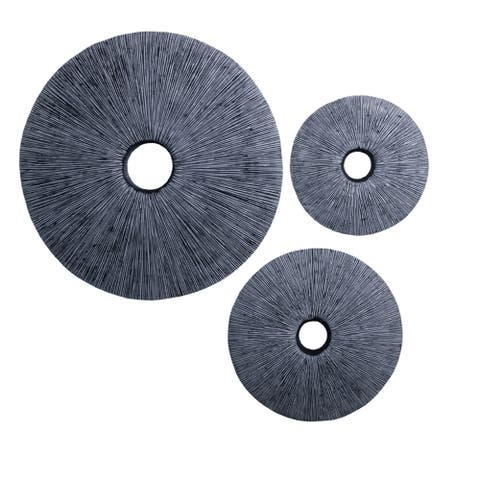 Ribbed Round Sandstone Wall Decor with Cut Out at Centre, Large, Gray - 6 x 12