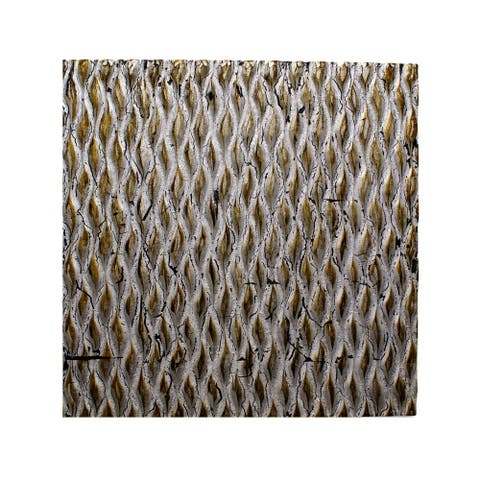 Modern Style Wooden Wall Decor with Patterned Carving, Small, Silver - 6 x 12