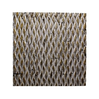 Modern Style Wooden Wall Decor with Patterned Carving, Large, Silver - 6 x 12