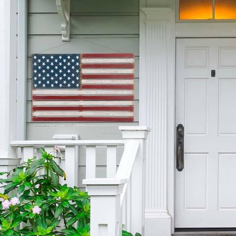 """Glitzhome 42""""L Wooden Patriotic National Flag Wall Decor"""