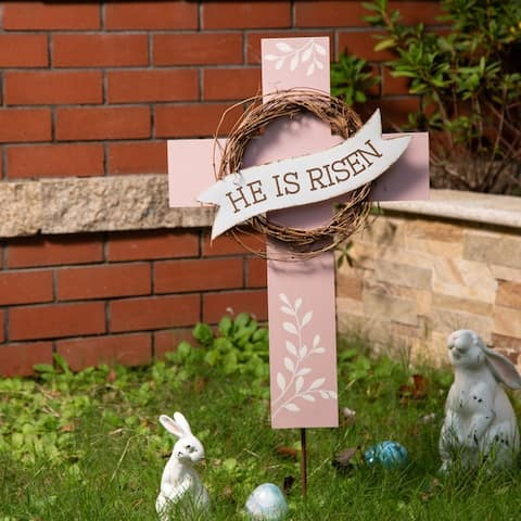 """Glitzhome 32""""H Easter Wooden/Metal Cross Yard Stake or Wall Decor"""